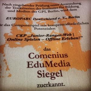"""Nach eingehender Prüfung unter Anwendung der Testkriterien des Institutes für Bildung und Medien der GPI, Berlin, wurde """"Junior-Ranger-Web"""" als Computerspiel mit kompetenzförderlichen Potentialen ausgezeichnet."""