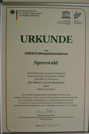 Urkunde MaB Spreewald