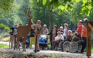 """Großes Lob erfuhr der barrierefreie Naturerkundungspfad """"Der Wilde Weg"""": Hier ein ehrenamtlicher Nationalpark-Waldführer bei einer geführten Wanderung über den Wilden Weg (Foto: Deutsche Bahn AG / H.-D. Budde)"""